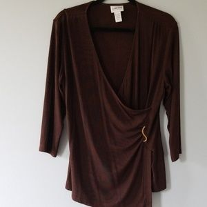 Chico's Travelers Brown 3/4 Sleeves Blouse.